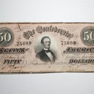 1864 $50 CONFEDERATE STATES OF AMERICA - CR# 502
