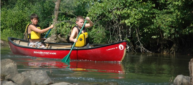 Campers from Camp Rockmont, a summer camp for boys in Black Mountain, practice canoeing. Photo courtesy of NCYCA.