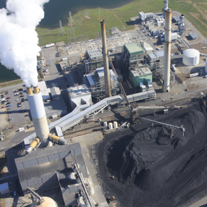 A view from above the Progress Energy power plant in Skyland shows the magnitude of coal it takes to power the company's 164,000 customers in Western North Carolina. Photo courtesy of SouthWings.