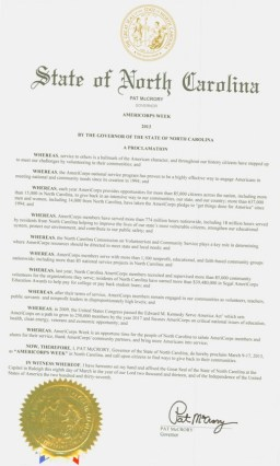 A proclamation of Gov. Pat McCrory made March 9-17 AmeriCorps week in North Carolina. Click to view full-size image.