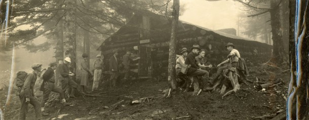 This 1920s photograph depicts men at LeConte Lodge. The lodge still serves visitors today on the third highest peak in Great Smoky Mountains National Park. Photo courtesy of the park and Hunter Library Digital Collections.