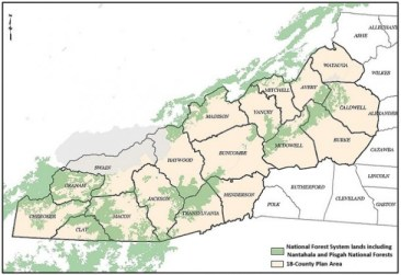 The 18-county area included in the Nantahala and Pisgah national forests management plan. Map courtesy of the U.S. Forest Service.