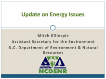 The 'Update on Energy Issues' presented in November provided a first mention of a potential fracking study in Western North Carolina.