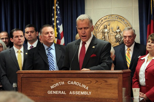 The start of the North Carolina General Assembly's short session includes a set of press conferences, including one by House Speaker Thom Tillis, R-Mecklenburg. Kirk Ross/Carolina Public Press