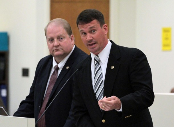 Republican legislators Rep. Jonathan Jordan (left) and Sen. Dan Soucek (right) speak Tuesday at the state House Government Committee about an effort to change planning and zoning powers in the town of Boone. Kirk Ross/Carolina Public Press
