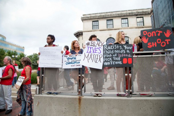 About 100 people gathered in downtown Asheville Sunday to protest police brutality and racial injustice. Alicia Funderburk/Carolina Public Press