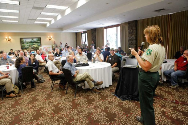 Kristin Bail, Forest Supervisor for the National Forests of North Carolina speaks at a National Forests Plan Revision meeting at Crowne Plaza resortin Asheville in July 2014. Matt Rose/Carolina Public Press