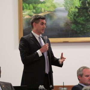 Rep. Brian Turner, D-Asheville, expresses his objections to a bill that would have created election districts for the city of Asheville without a referendum.