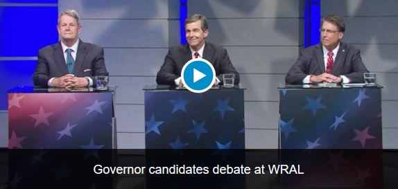 The video from that debate, which included Republican Gov. Pat McCrory, Democratic Attorney General Roy Cooper and Libertarian Lon Cecil, may be watched below.