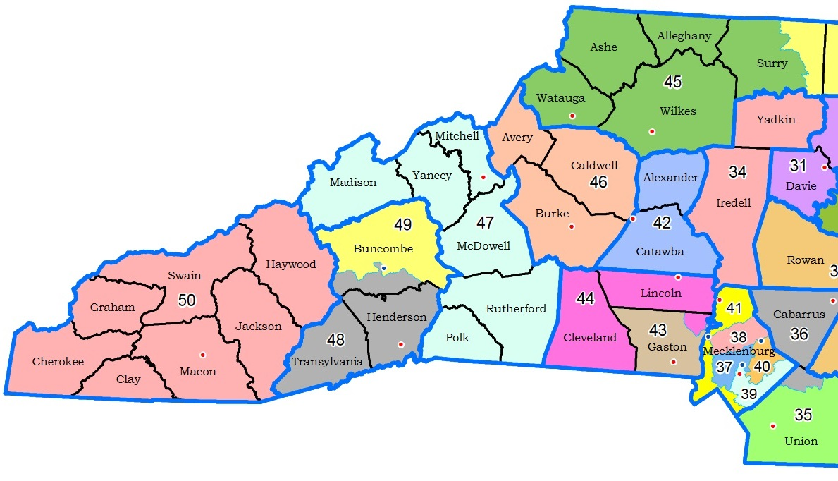 Proposed N.C. Senate district map for WNC.