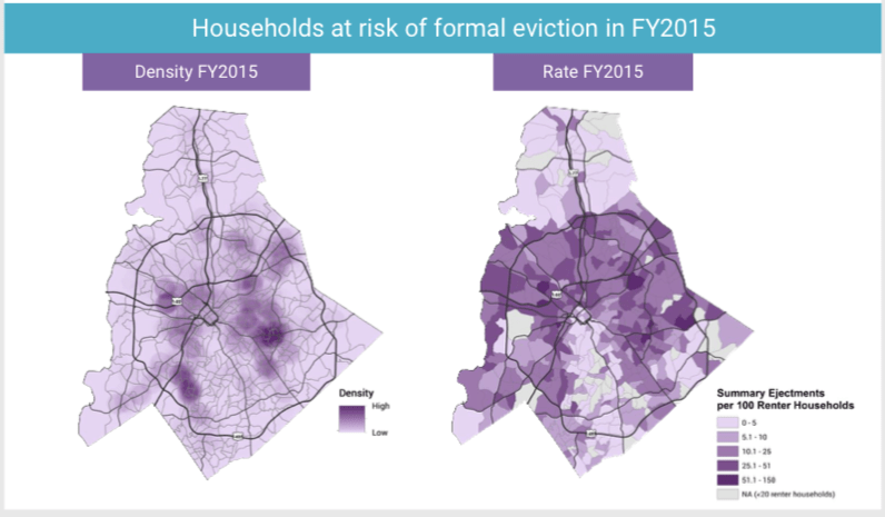 Mecklenburg County eviction rates mapped over time.