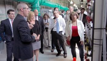 Legislators tour a water filtration plant near Wilmington in 2017.