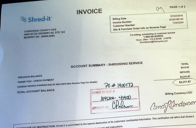 Shredding invoice signed by Cindy Palmer