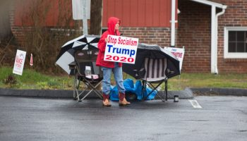 Tiph Worley campaigns during the 2020 primary election in the parking lot outside the First Baptist Church of Black Mountain polling place in Buncombe County on March 3, 2020. Colby Rabon / Carolina Public Press