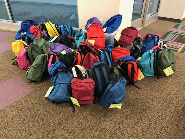 Bags of supplies at Invest Collegiate charter school in Charlotte await pickup during the coronavirus pandemic. Photo courtesy of Invest Collegiate charter school.