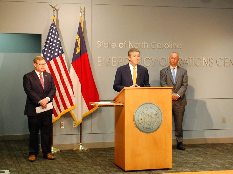 Gov. Roy Cooper and legislative leaders conduct a rare joint and bipartisan press conference Monday to announce passage of coronavirus response legislation. Photo courtesy of the governor's office.