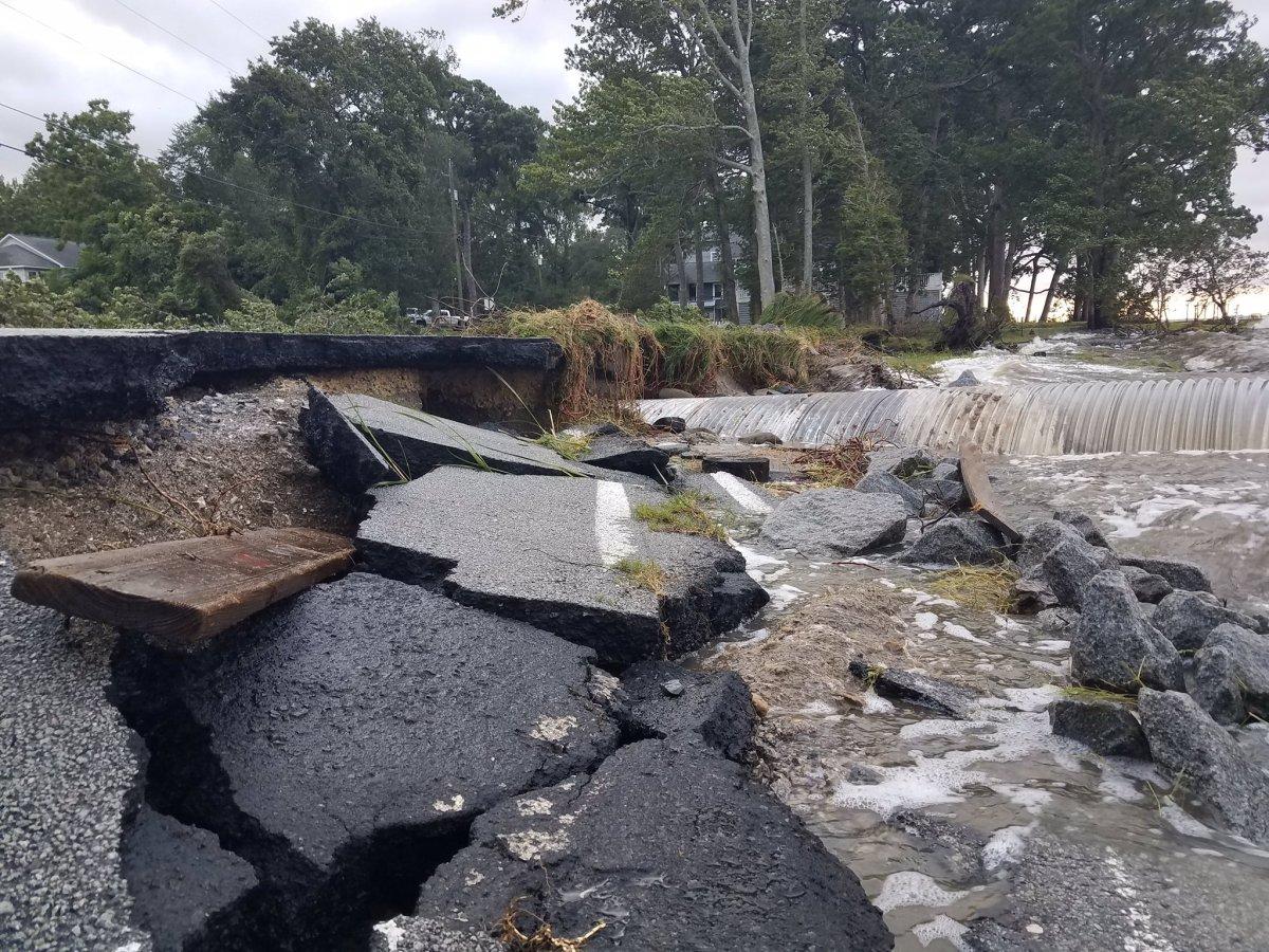Hurricane Isaias damage Beaufort County, NC, Bayview Road near Bath.