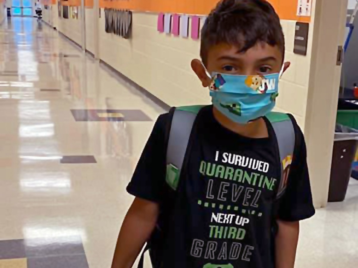 Poplin Elementary School in Indian Trail posted this image of an unnamed student on its Facebook page last week on the first day of school. The Union County school has since closed to in-person instruction due to confirmed cases of COVID-19. Photo courtesy of Union County Schools.