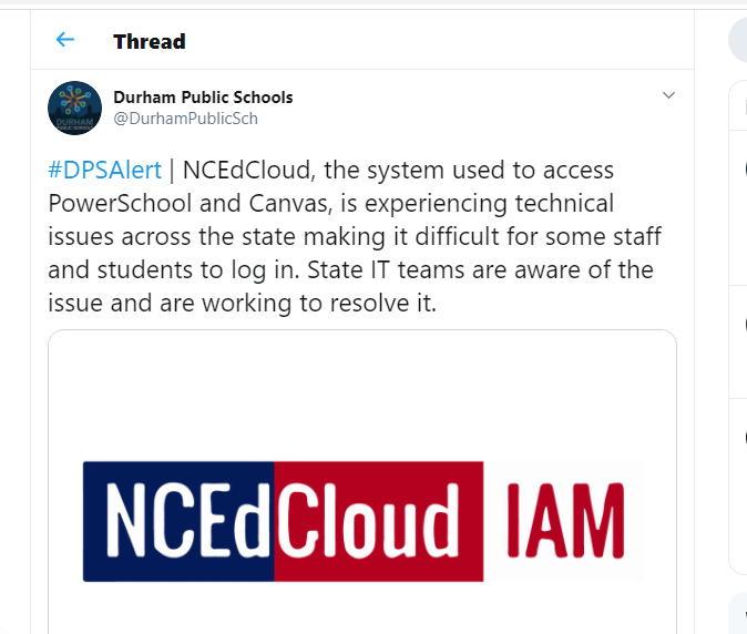 Like many school systems throughout the state Durham Public Schools tweeted Monday morning about problems with the state's portal supporting virtual instruction. Screengrab from Twitter.