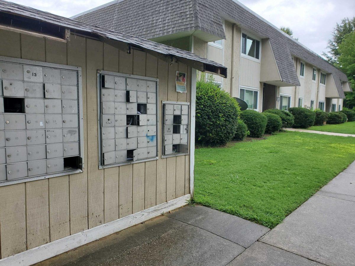 A mailbox unit outside South Pointe Apartments in Greensboro. Jason deBruyn / WUNC