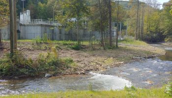 Cathey's Creek flows past the Brevard water plant in Transylvania County, the city's only source of drinking water. Cleanup of lead contamination from a police shooting range near the city has drawn federal prosecution of a city official. Frank Taylor / Carolina Public Press