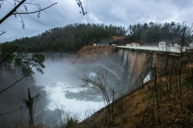 """The town of Lake Lure is preparing to undertake a cost repair project on its dam after years of what the town's engineering consultant has called """"neglect."""" (Colby Rabon / Carolina Public Press)"""
