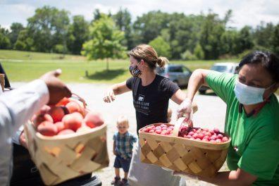 Nicole Coston, center, of Bearwallow Valley Farm drops off food at Spanish Church in Henderson County on Monday, through a program of ASAP. (Colby Rabon / Carolina Public Press)