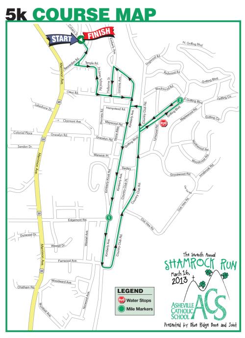 2013 Asheville Shamrock 5k Course Map
