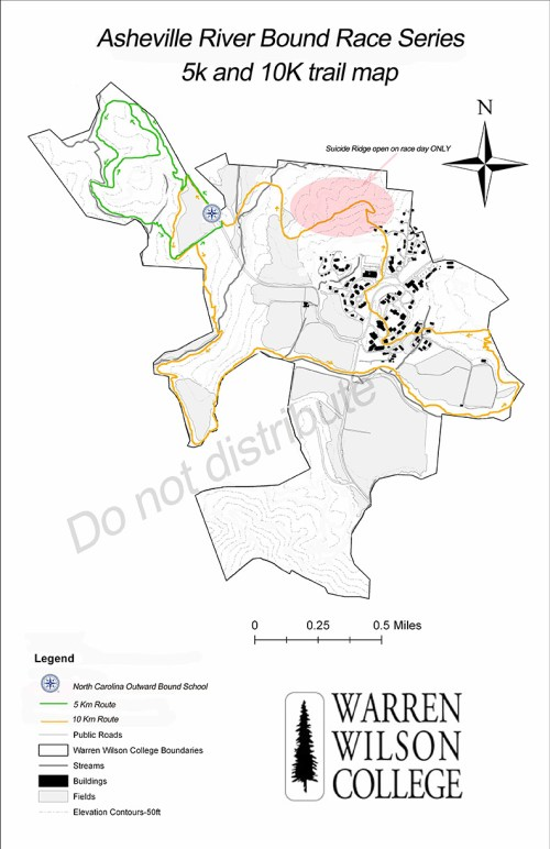 Asheville River Bound Race Series 5K 10K Course Map