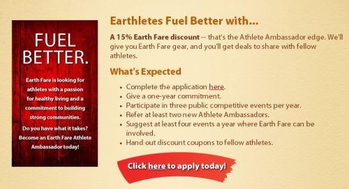 Earth Fare Athlete Ambassador Program Details