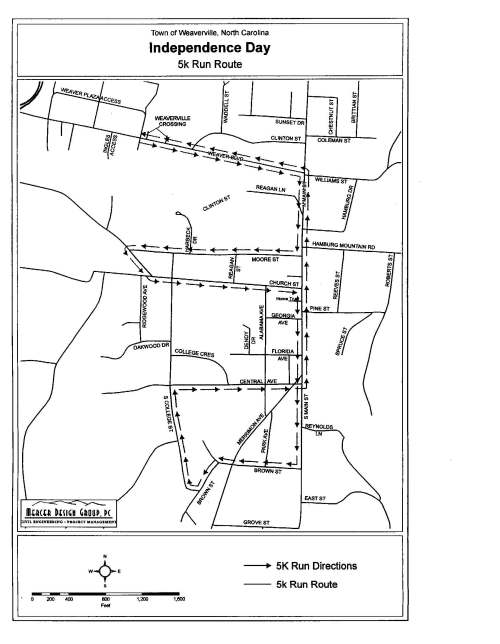 2013 Weaverville Firecracker 5k Course Map (click for larger version)
