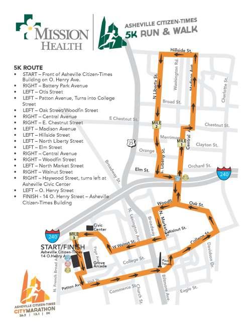 2013 Asheville Citizen-Times 5k Course Map (click for larger image)