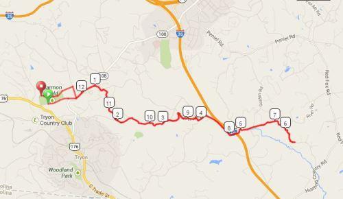 Tryon Half Marathon Course Map (click for interactive version)