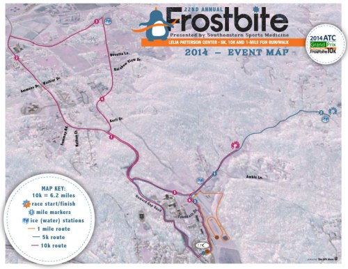 2014 Frostbite 10k and 5k Course Map (click for larger version)