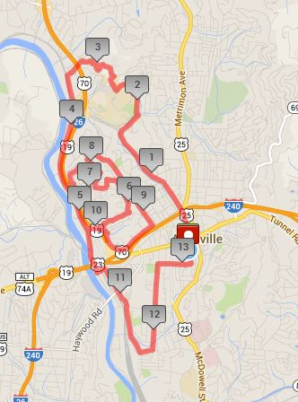 2014 Asheville Half Marathon Course (click to access the interactive version at MapMyRun)