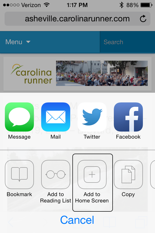 STEP 2: Tap the 'add to home screen' button.