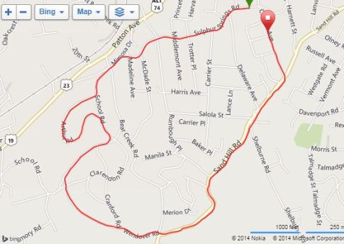 Vance Rocket Run Course (click on image for interactive version)