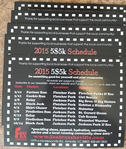 Foot Rx $5 Dollar 5k Schedule 2015