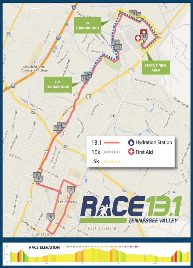 Race 131 Cleveland TN 2015 Course Map