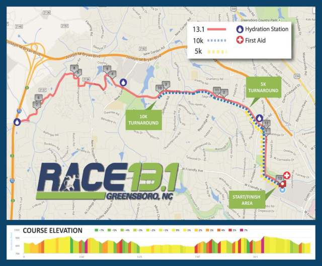 Race 131 Greensboro 2015 Course Map
