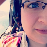 Only slightly terrified in a helicopter