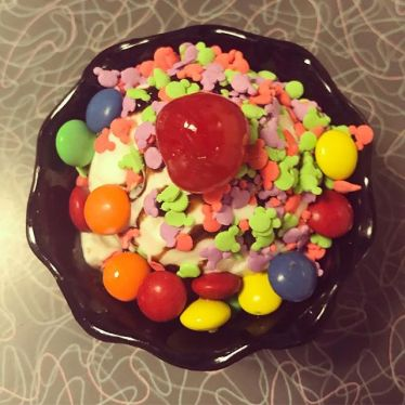 Kids' sundae at the 50's Prime Time Café. Mickey sprinkles!