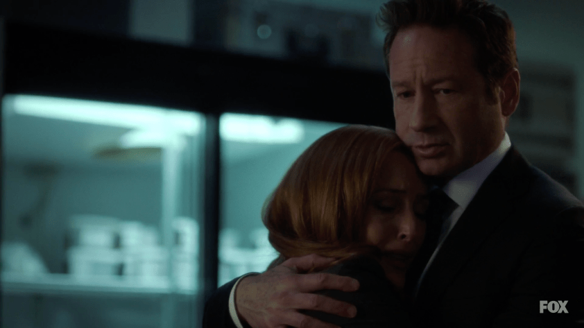 Mulder and Scully hugging in a morgue over their dead son's body. NBD. Stop hurting my babies, Wong.