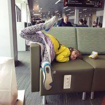 More waiting with some interpretive yoga poses at Boston Logan.