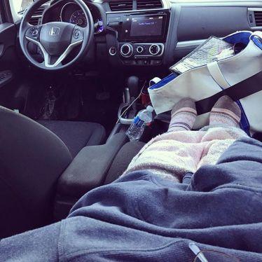 Riding home with a bum leg.