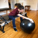Rehab exercise with exercise ball