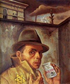 Self portrait with ID card by Felix Nussbaum (1943)