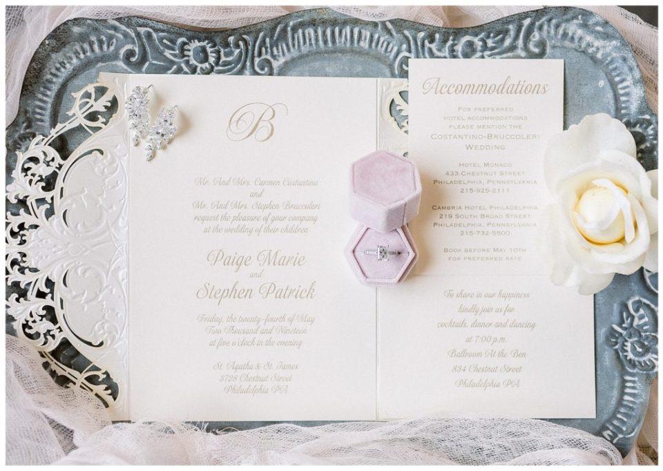 wedding invitation at the Ballroom at the Ben in Philadelphia, PA