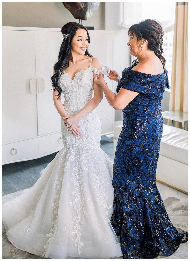bride and mother at Hotel Monaco in Philadelphia, PA
