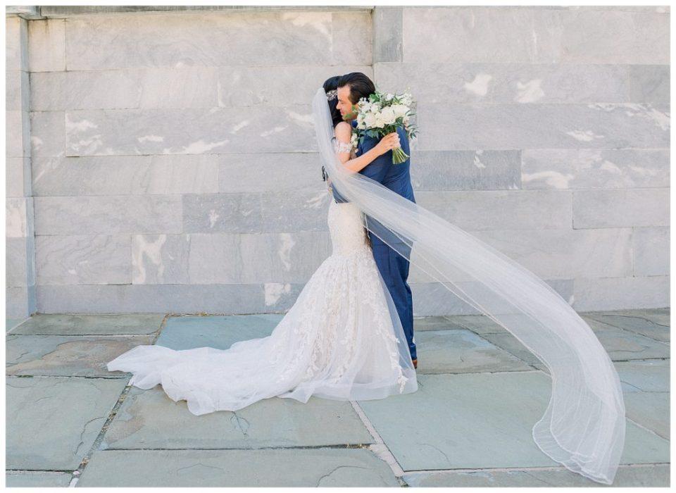 Bride and groom in Old City, Philadelphia